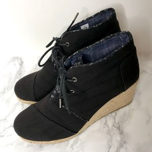 Toms Black Lace Up Espadrille Wedge Booties